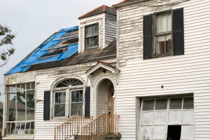 hurricane damaged home