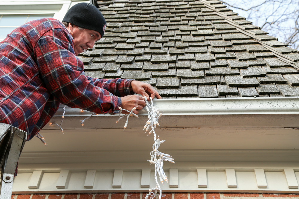 hanging Christmas lights